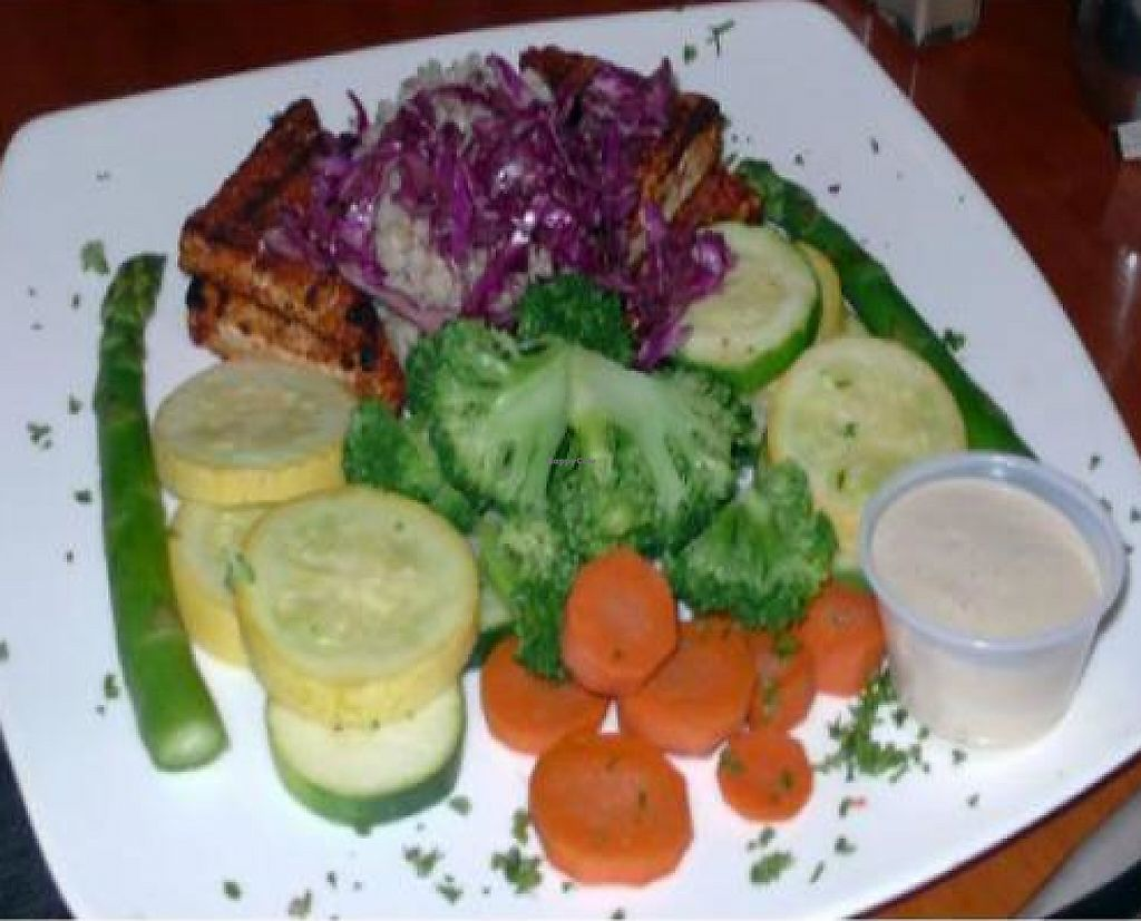 "Photo of A Votre Sante  by <a href=""/members/profile/quarrygirl"">quarrygirl</a> <br/>Blackened Tofu Feast: Blackened organic tofu, steamed vegetables, organic brown rice, and soy tahini sauce <br/> November 29, 2011  - <a href='/contact/abuse/image/3960/189224'>Report</a>"
