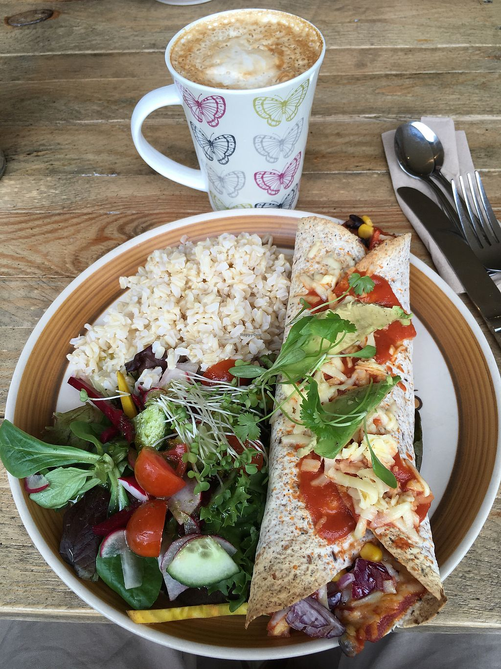 """Photo of Mad Cucumber - Vegan Lounge  by <a href=""""/members/profile/redshift86"""">redshift86</a> <br/>Enchilada and soya latte <br/> August 1, 2017  - <a href='/contact/abuse/image/39613/287591'>Report</a>"""
