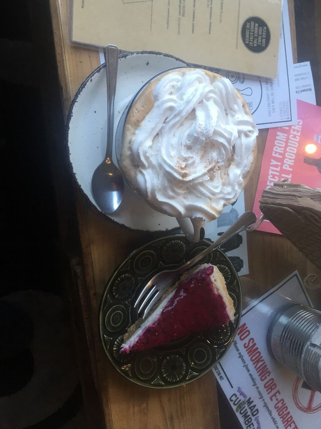 """Photo of Mad Cucumber - Vegan Lounge  by <a href=""""/members/profile/small_trees"""">small_trees</a> <br/>Coffee with squirty cream! <br/> January 29, 2018  - <a href='/contact/abuse/image/39613/352161'>Report</a>"""