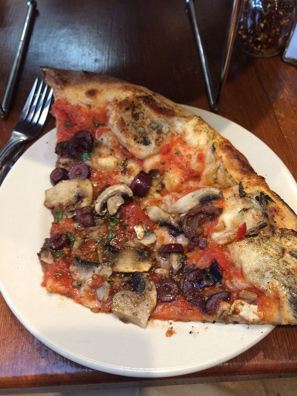 """Photo of Flatbread Company  by <a href=""""/members/profile/veganmamaof4"""">veganmamaof4</a> <br/>vegan flatbread with mushrooms and kalamata olives <br/> August 2, 2017  - <a href='/contact/abuse/image/3962/288106'>Report</a>"""