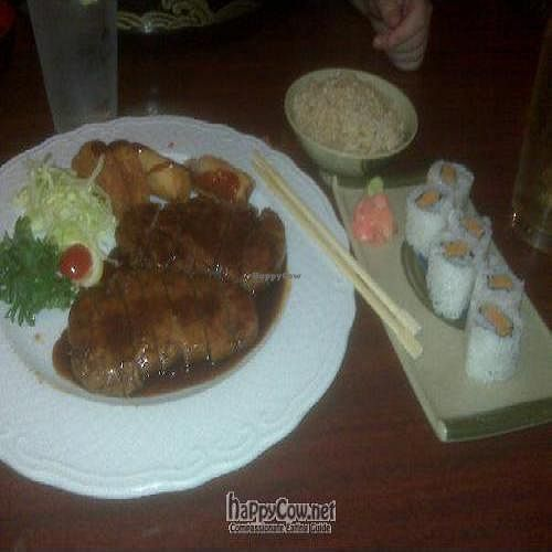 """Photo of Kotobuki  by <a href=""""/members/profile/jmwatts"""">jmwatts</a> <br/>'Beef' Teriyaki with potato cake and spring roll.  Also, sweet potato sushi <br/> September 14, 2009  - <a href='/contact/abuse/image/3971/2626'>Report</a>"""