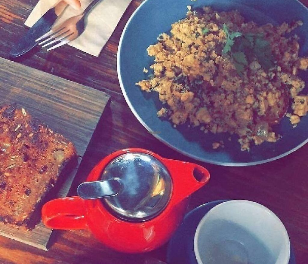 """Photo of Earthly Pleasures Cafe  by <a href=""""/members/profile/VeganVibes"""">VeganVibes</a> <br/>tofu scramble & banana bread <br/> January 21, 2017  - <a href='/contact/abuse/image/39733/255765'>Report</a>"""