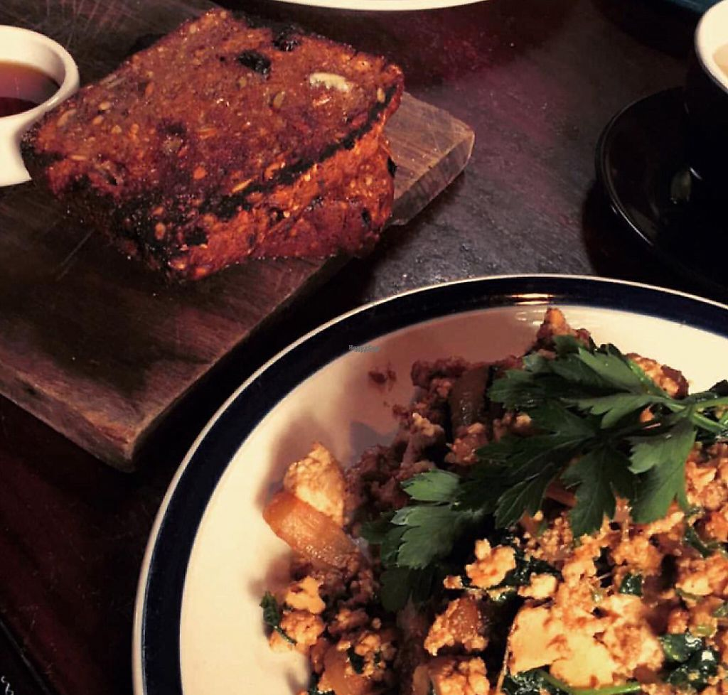 """Photo of Earthly Pleasures Cafe  by <a href=""""/members/profile/VeganVibes"""">VeganVibes</a> <br/>Avo hummus toast, tofu scramble & banana bread <br/> January 21, 2017  - <a href='/contact/abuse/image/39733/255766'>Report</a>"""