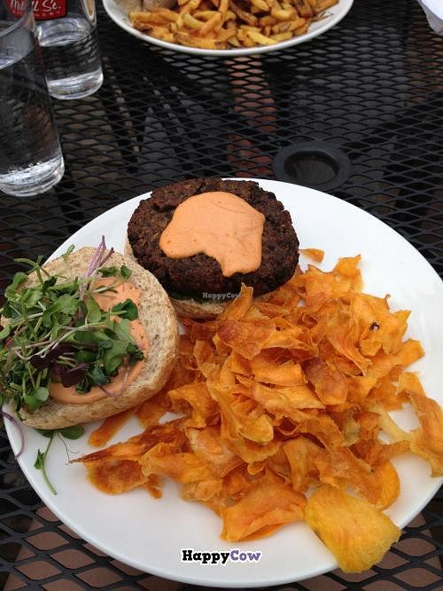 "Photo of Lola's Kitchen  by <a href=""/members/profile/Suburbivore"">Suburbivore</a> <br/>Black bean, mushroom and walnut burger. Delicious with red pepper/cashew sauce <br/> July 8, 2013  - <a href='/contact/abuse/image/39833/50965'>Report</a>"