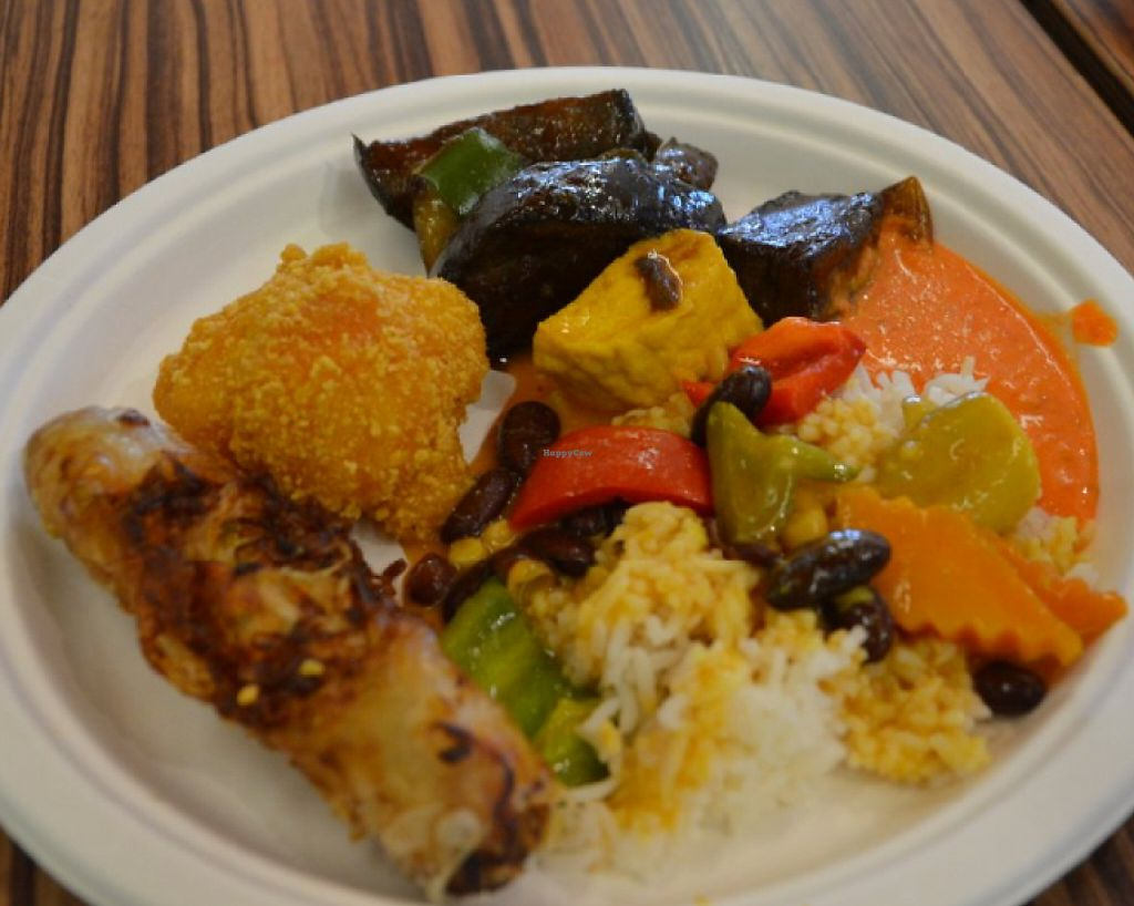 """Photo of Loving Hut - Radlicka  by <a href=""""/members/profile/citrameaune"""">citrameaune</a> <br/>Eggplants (loved them), fried kaliflowers in clair, tofu curry with rice, carrot sauce <br/> July 20, 2016  - <a href='/contact/abuse/image/39855/237542'>Report</a>"""
