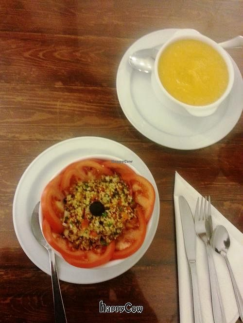 """Photo of CLOSED: El Granero de Lavapies  by <a href=""""/members/profile/Fer"""">Fer</a> <br/>Starters: Vegetable cream and Cous-cous <br/> February 2, 2013  - <a href='/contact/abuse/image/3987/43682'>Report</a>"""