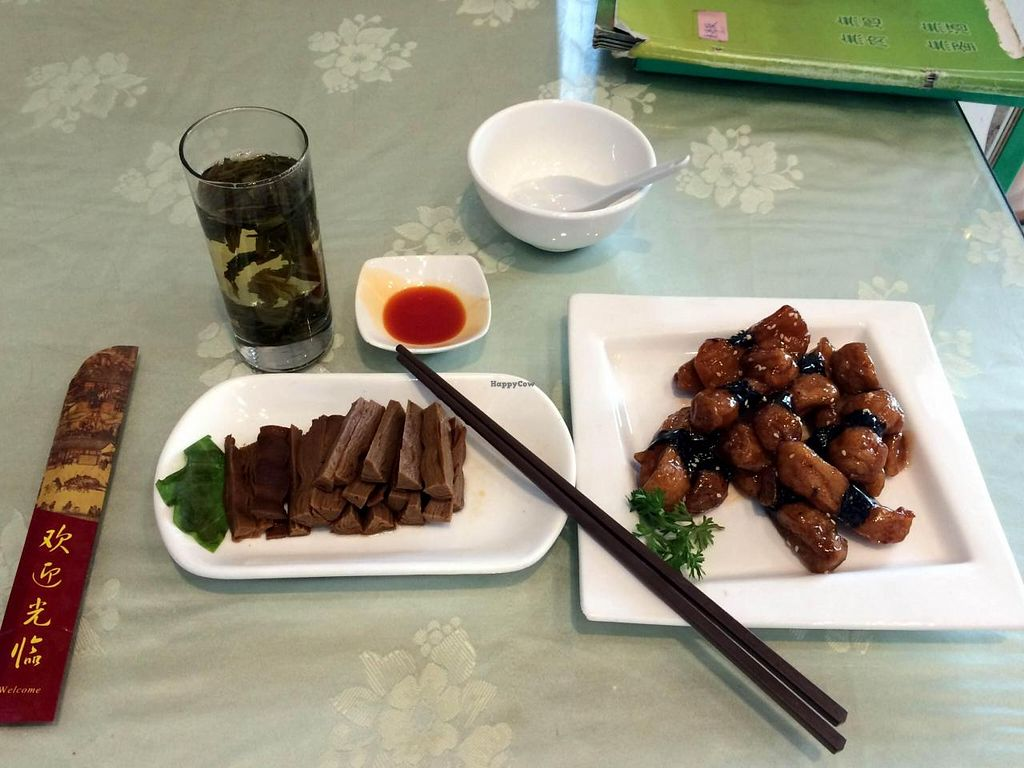 """Photo of CLOSED: Hui Yuan Vegetarian  by <a href=""""/members/profile/gsbito"""">gsbito</a> <br/>Lunch at Hui Yuan Vegetarian. Complimentary Oolong tea (and refills). Mock meat menu items. This lunch came to about 48 yuan <br/> August 12, 2014  - <a href='/contact/abuse/image/39921/76745'>Report</a>"""