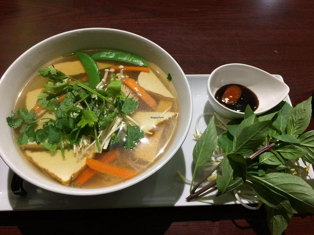 """Photo of Veggiebowl  by <a href=""""/members/profile/vietvegan"""">vietvegan</a> <br/>[image description: a colour photo of a bowl of pho on a long plate. beside the bowl is a small bowl with sauces and a bunch of basil. end description.]  Vegetarian Pho - $8.75 (as of October 2014)  absolutely delicious <br/> October 10, 2014  - <a href='/contact/abuse/image/39931/82621'>Report</a>"""
