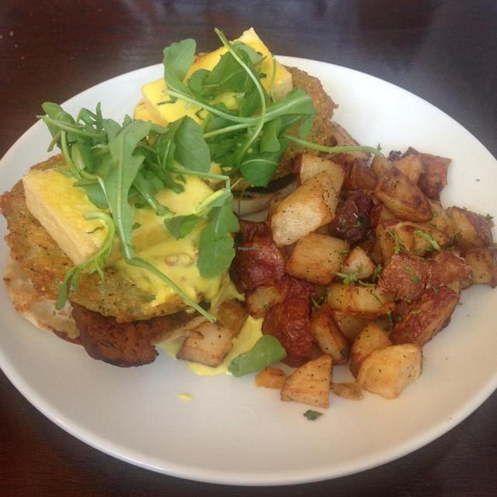 "Photo of Tree House  by <a href=""/members/profile/RH2309"">RH2309</a> <br/>Eggs (tofu) Benedict with fried green tomatoes  <br/> November 30, 2014  - <a href='/contact/abuse/image/39939/86764'>Report</a>"