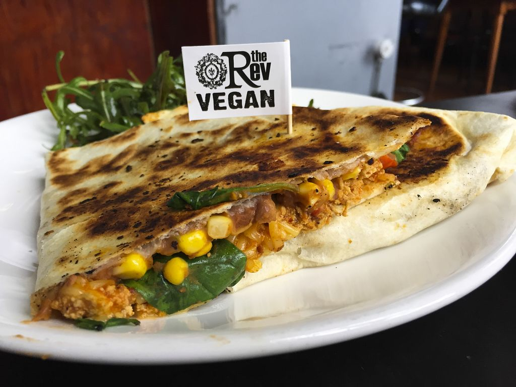 """Photo of The Reverence Hotel  by <a href=""""/members/profile/karlaess"""">karlaess</a> <br/>Vegan Quesadilla <br/> August 8, 2015  - <a href='/contact/abuse/image/39973/112724'>Report</a>"""