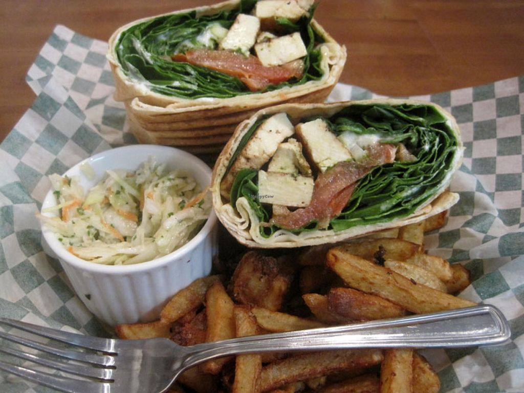 "Photo of Vegan Rapide - Sherbrooke  by <a href=""/members/profile/Babette"">Babette</a> <br/>Rustique Sandwich (Marinated tofu, spinach, tomato, green onion, pesto, veganaise) with coleslaw and fries. The coleslaw and fries are perfect, but I was not overly pleased with the sandwich. It lacked some more veganaise or pesto <br/> January 11, 2016  - <a href='/contact/abuse/image/39990/132094'>Report</a>"
