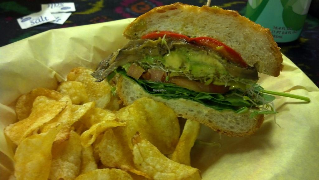 """Photo of Pot Pie Paradise  by <a href=""""/members/profile/KeghanMerr"""">KeghanMerr</a> <br/>vegan garden sandwich on sourdough w/ jalapeno chips <br/> September 5, 2014  - <a href='/contact/abuse/image/40039/79140'>Report</a>"""