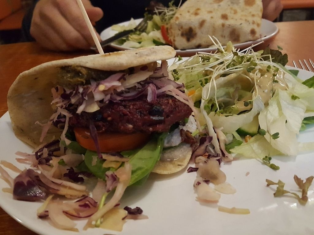 """Photo of Vegtral Restaurace  by <a href=""""/members/profile/SueClesh"""">SueClesh</a> <br/>vegan beetroot burger with salad and vinaigrette dressing <br/> October 28, 2016  - <a href='/contact/abuse/image/40051/237349'>Report</a>"""