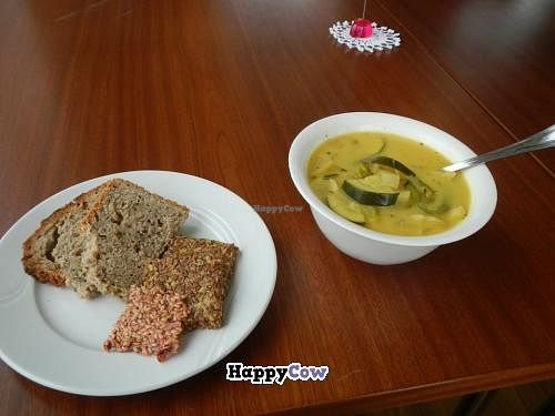 "Photo of Silva  by <a href=""/members/profile/Meggie%20and%20Ben"">Meggie and Ben</a> <br/>Vegan vegetable ginger soup with bread and flax crackers <br/> July 21, 2013  - <a href='/contact/abuse/image/40113/51778'>Report</a>"
