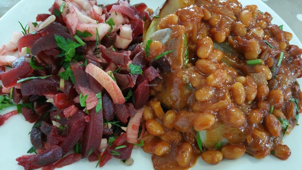 """Photo of The Beano Restaurant  by <a href=""""/members/profile/IrynaK"""">IrynaK</a> <br/>Beans dish with jacket potato, and beetroot salad <br/> July 12, 2015  - <a href='/contact/abuse/image/4011/109088'>Report</a>"""