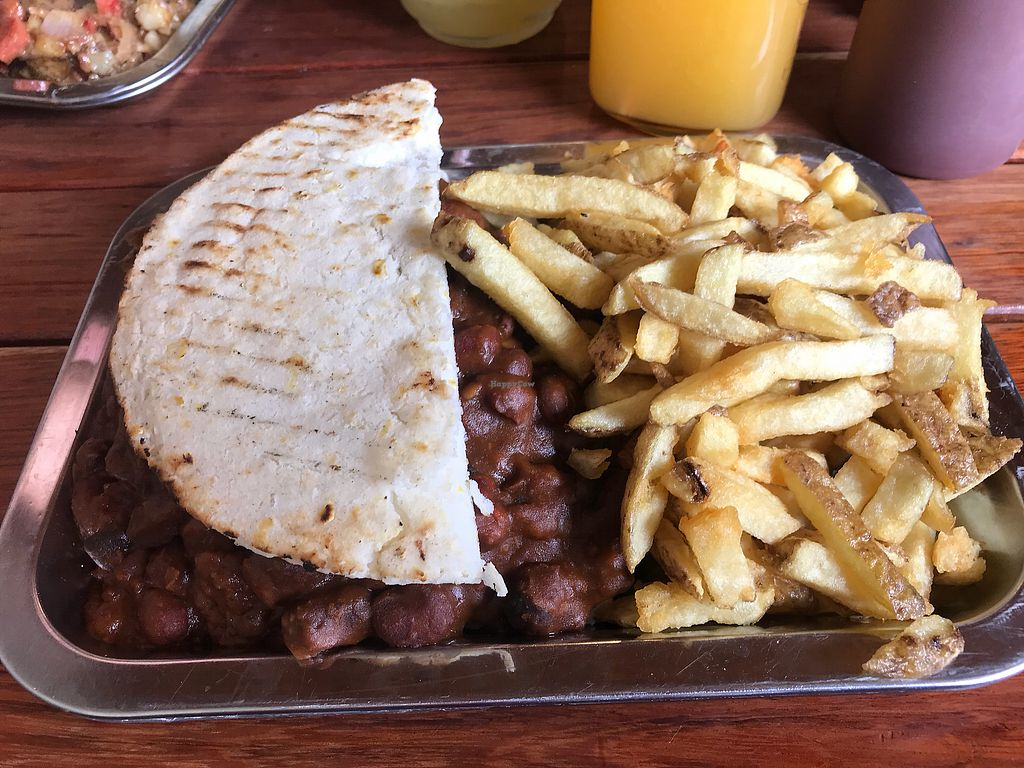 """Photo of Brunch de Salento  by <a href=""""/members/profile/Pearlpeachy"""">Pearlpeachy</a> <br/>5 bean chili black bean burger with caramelized onions and sautéed mushrooms on an arepa with French fries and homemade ketchup <br/> November 23, 2017  - <a href='/contact/abuse/image/40127/328249'>Report</a>"""