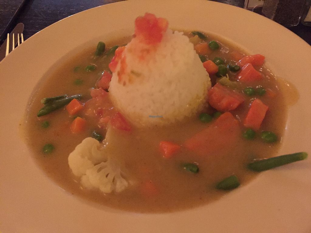 """Photo of Trinity Hall  by <a href=""""/members/profile/plantbaseddfw"""">plantbaseddfw</a> <br/>Curry soup with rice  <br/> December 2, 2017  - <a href='/contact/abuse/image/40151/331565'>Report</a>"""