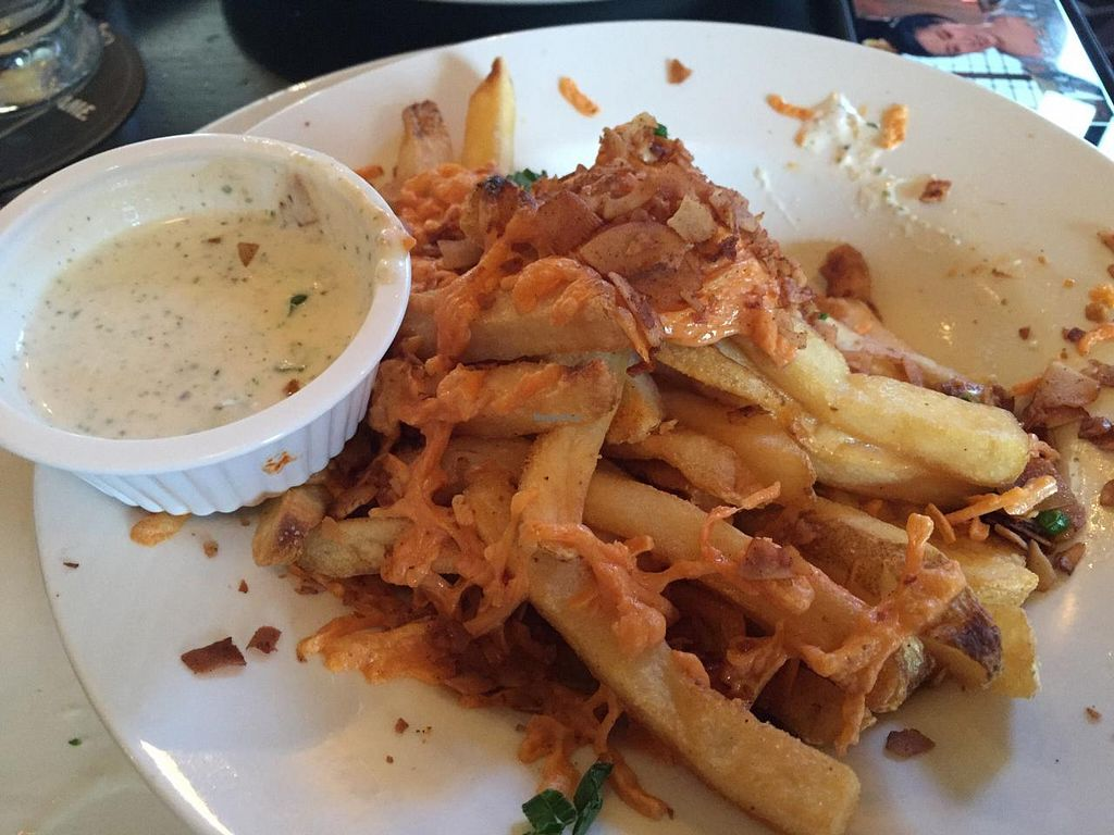 """Photo of Trinity Hall  by <a href=""""/members/profile/Tata"""">Tata</a> <br/>Vegan bacon cheese fries <br/> January 12, 2015  - <a href='/contact/abuse/image/40151/90214'>Report</a>"""