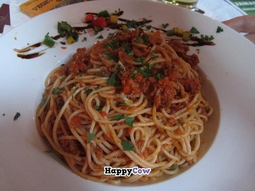"""Photo of Restaurant Café Kostbar  by <a href=""""/members/profile/VegiAnna"""">VegiAnna</a> <br/>Spaghetti with vegetarian bolognese  <br/> July 31, 2013  - <a href='/contact/abuse/image/40162/52490'>Report</a>"""