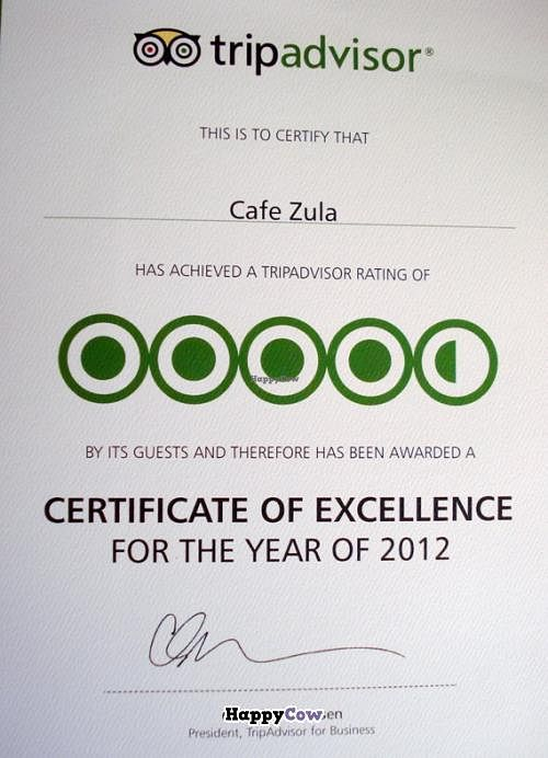"Photo of Cafe Zula  by <a href=""/members/profile/carrotking"">carrotking</a> <br/>Certificate of excellence for the year 2012 from Trip advisor  <br/> July 28, 2013  - <a href='/contact/abuse/image/40223/52326'>Report</a>"