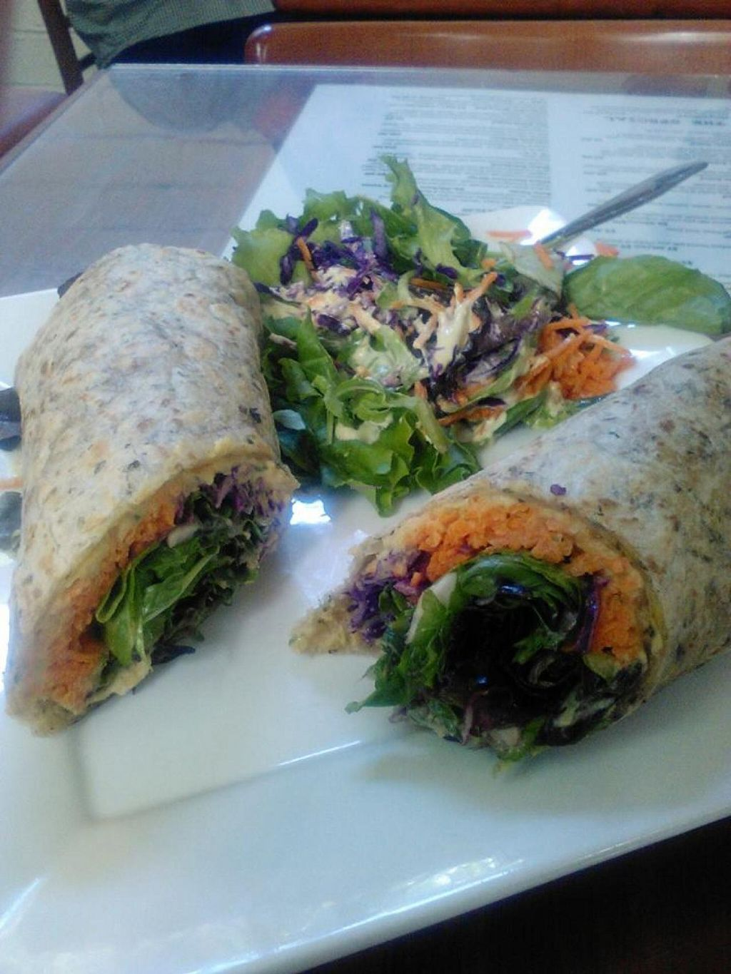"""Photo of Shine Cafe  by <a href=""""/members/profile/KristinNirvana"""">KristinNirvana</a> <br/>Shine Hummus Wrap <br/> July 25, 2015  - <a href='/contact/abuse/image/4023/110973'>Report</a>"""