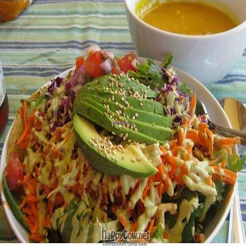 """Photo of Shine Cafe  by <a href=""""/members/profile/jlautner"""">jlautner</a> <br/>Black bean taco and curried squash soup. The soup has both summer and winter squash in it <br/> June 17, 2009  - <a href='/contact/abuse/image/4023/2058'>Report</a>"""