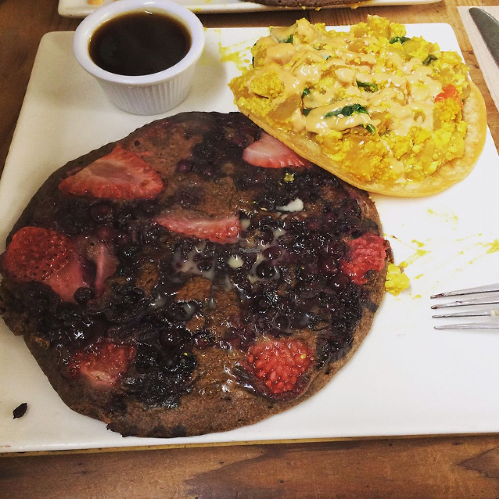 "Photo of Shine Cafe  by <a href=""/members/profile/sarizona2005"">sarizona2005</a> <br/>Buckwheat pancake and tofu scramble  <br/> February 25, 2017  - <a href='/contact/abuse/image/4023/230408'>Report</a>"
