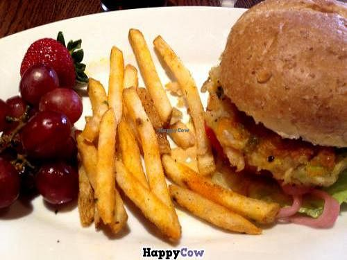 """Photo of Disneyland - Carnation Cafe  by <a href=""""/members/profile/morethanfine"""" class=""""title__title"""">morethanfine</a> <br/>Vegan Burger. It comes with fries or fruit. I'm usually with someone and we each order a different side and split it <br/> July 29, 2013  - <a href='/contact/abuse/image/40302/52380'>Report</a>"""