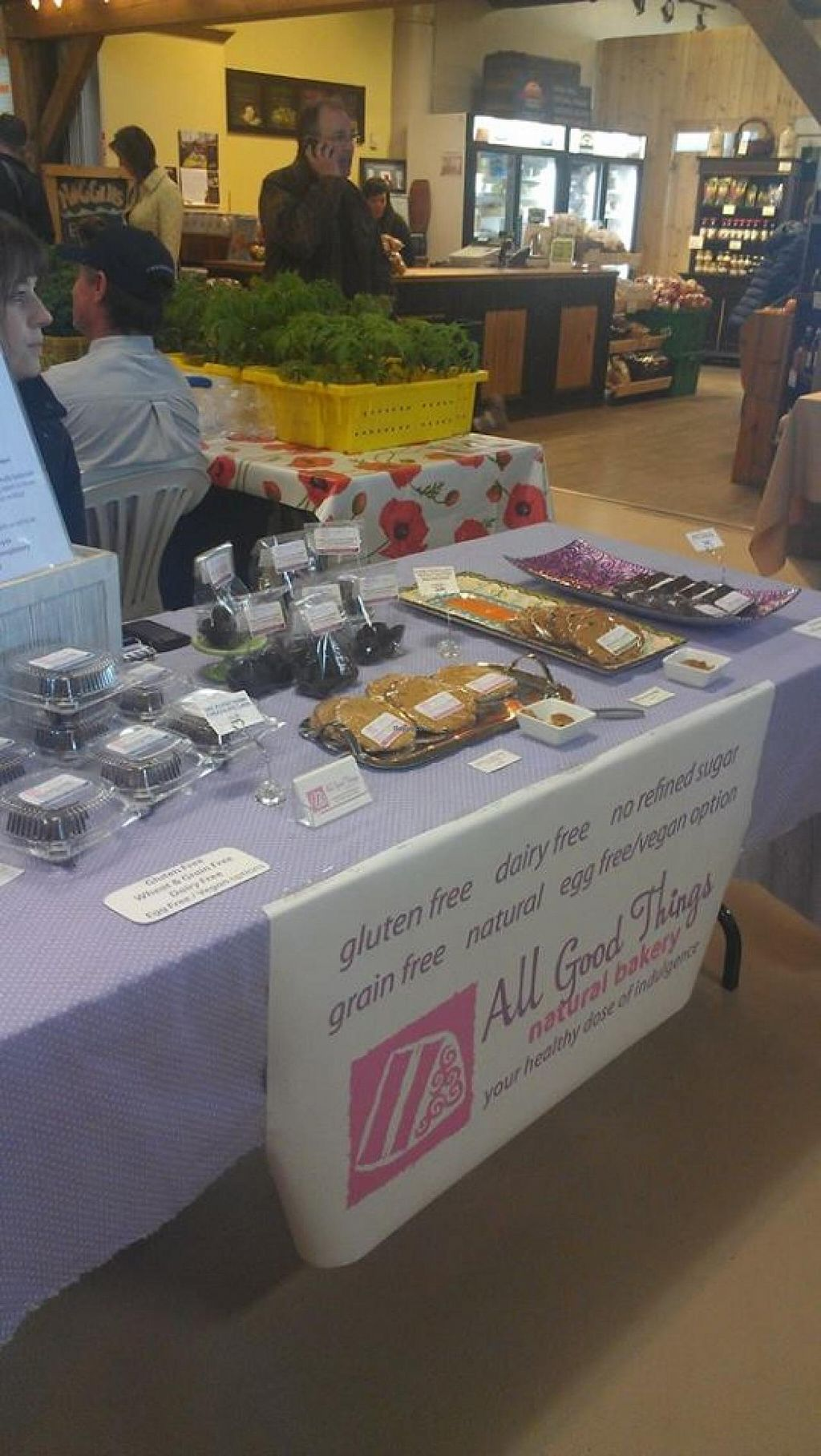 "Photo of Alderney Landing Farmer's Market  by <a href=""/members/profile/QuothTheRaven"">QuothTheRaven</a> <br/>All Good Things offers vegan cookies.  <br/> April 26, 2014  - <a href='/contact/abuse/image/40337/68652'>Report</a>"