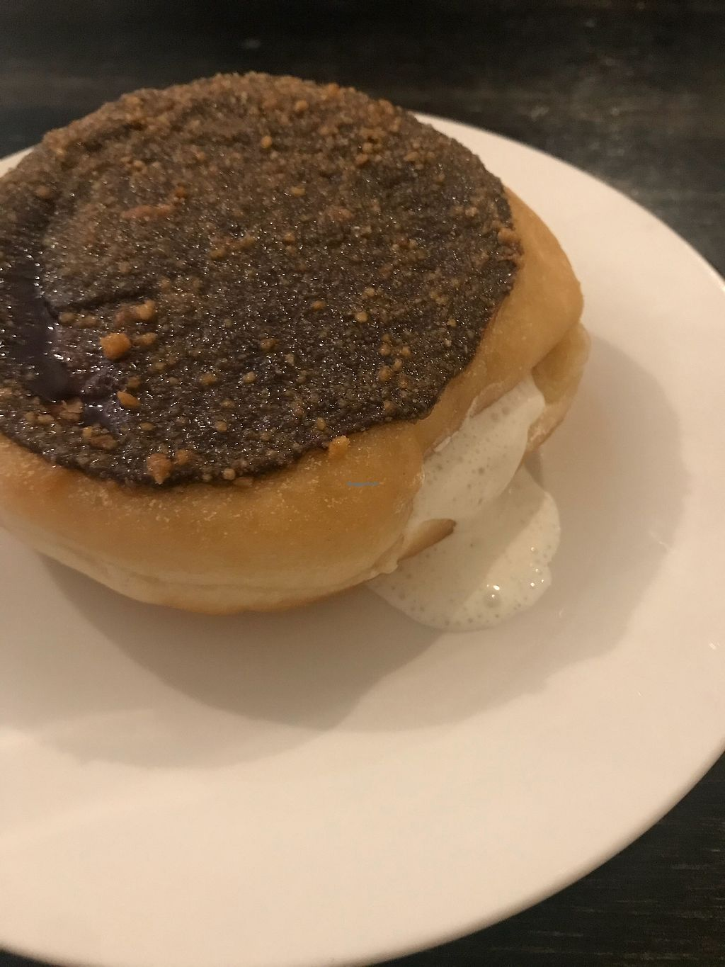 """Photo of Loving Hut - Brooklyn  by <a href=""""/members/profile/HouseofCats"""">HouseofCats</a> <br/>Most delicious S'mores donut ever.  <br/> April 2, 2018  - <a href='/contact/abuse/image/40374/379652'>Report</a>"""