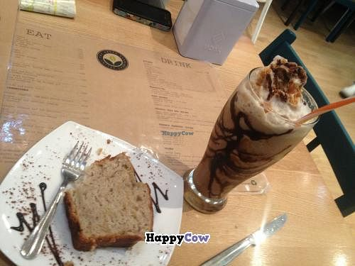 """Photo of The Green Bean Coffee Shop  by <a href=""""/members/profile/Artichoked"""">Artichoked</a> <br/>Soy hazelnut frappe and vegan banana cake <br/> July 31, 2013  - <a href='/contact/abuse/image/40399/52476'>Report</a>"""