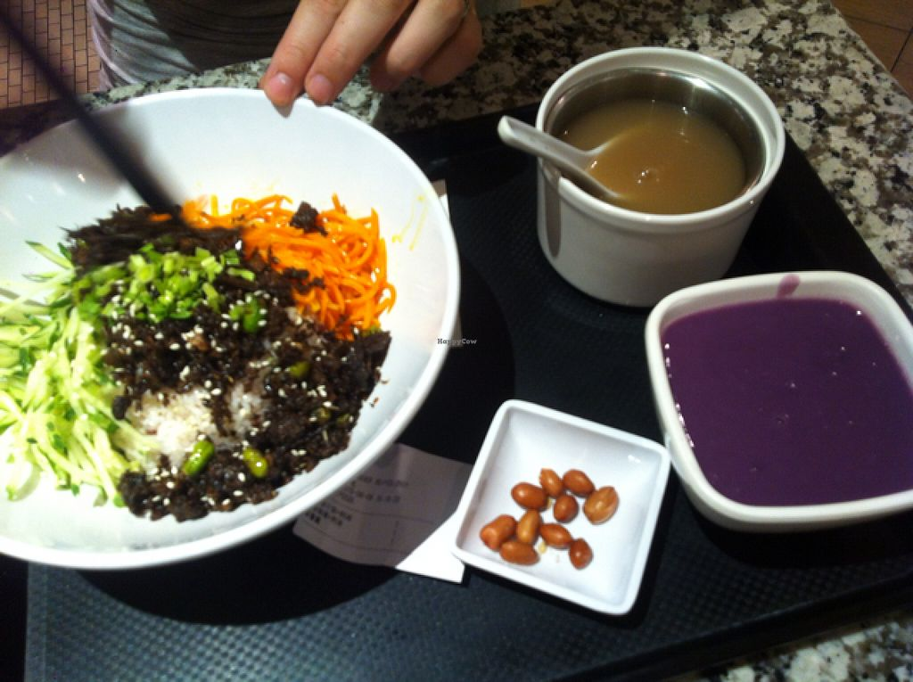 """Photo of Yi Tian Yi Su - Taiguhui  by <a href=""""/members/profile/BaDookie%21%21"""">BaDookie!!</a> <br/>Mushroom and veggie bowl with purple sweet potato soup <br/> August 8, 2015  - <a href='/contact/abuse/image/40448/112756'>Report</a>"""