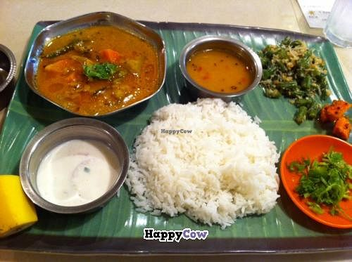 """Photo of Asian Restaurant CHOWK  by <a href=""""/members/profile/Vegeiko"""">Vegeiko</a> <br/>Southern Indian meal (vegetarian) You have to choose regular Japanese rice or Jasmin rice (long rice) , optional extra coliander leaf as topping <br/> August 2, 2013  - <a href='/contact/abuse/image/40457/52653'>Report</a>"""