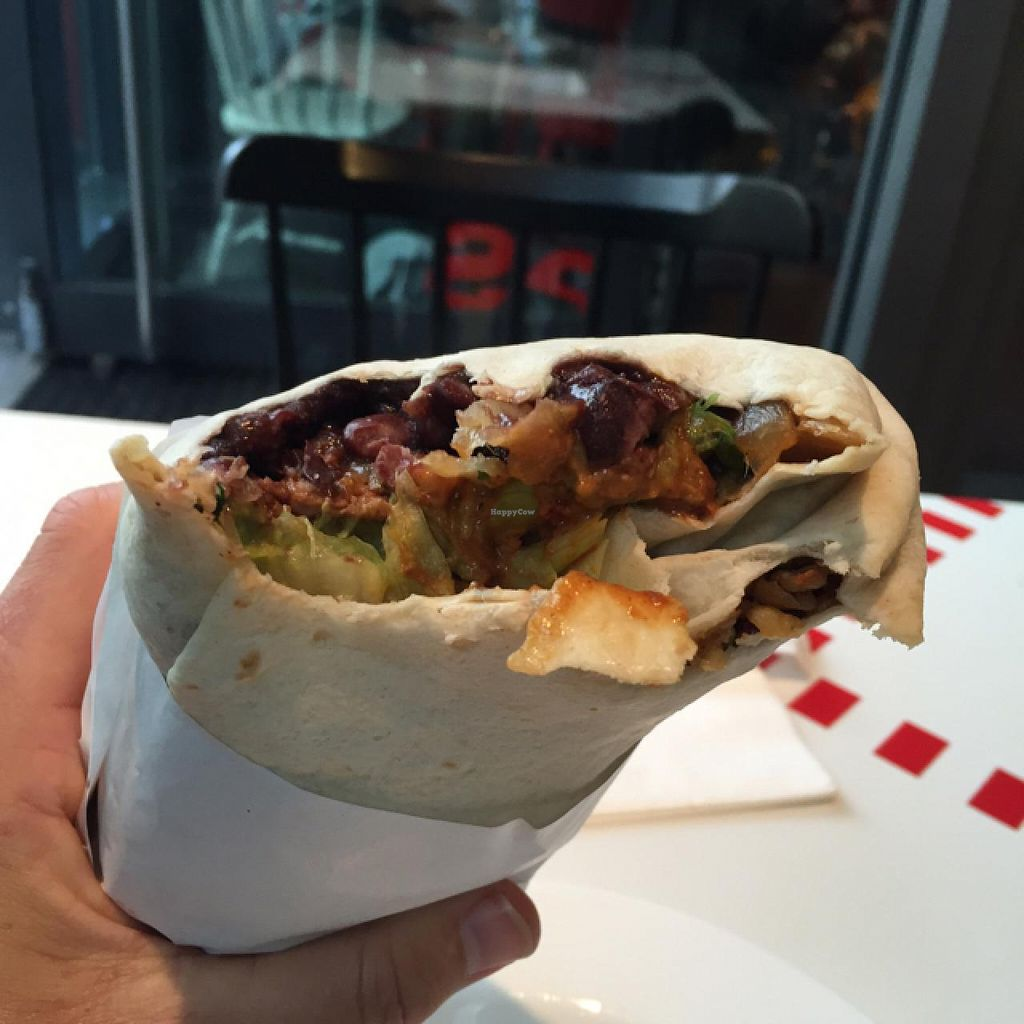 """Photo of Dolores Burritos  by <a href=""""/members/profile/DaveAsher"""">DaveAsher</a> <br/>best and biggest burrito I've ever had!! and it's vegan <br/> May 8, 2015  - <a href='/contact/abuse/image/40529/101636'>Report</a>"""
