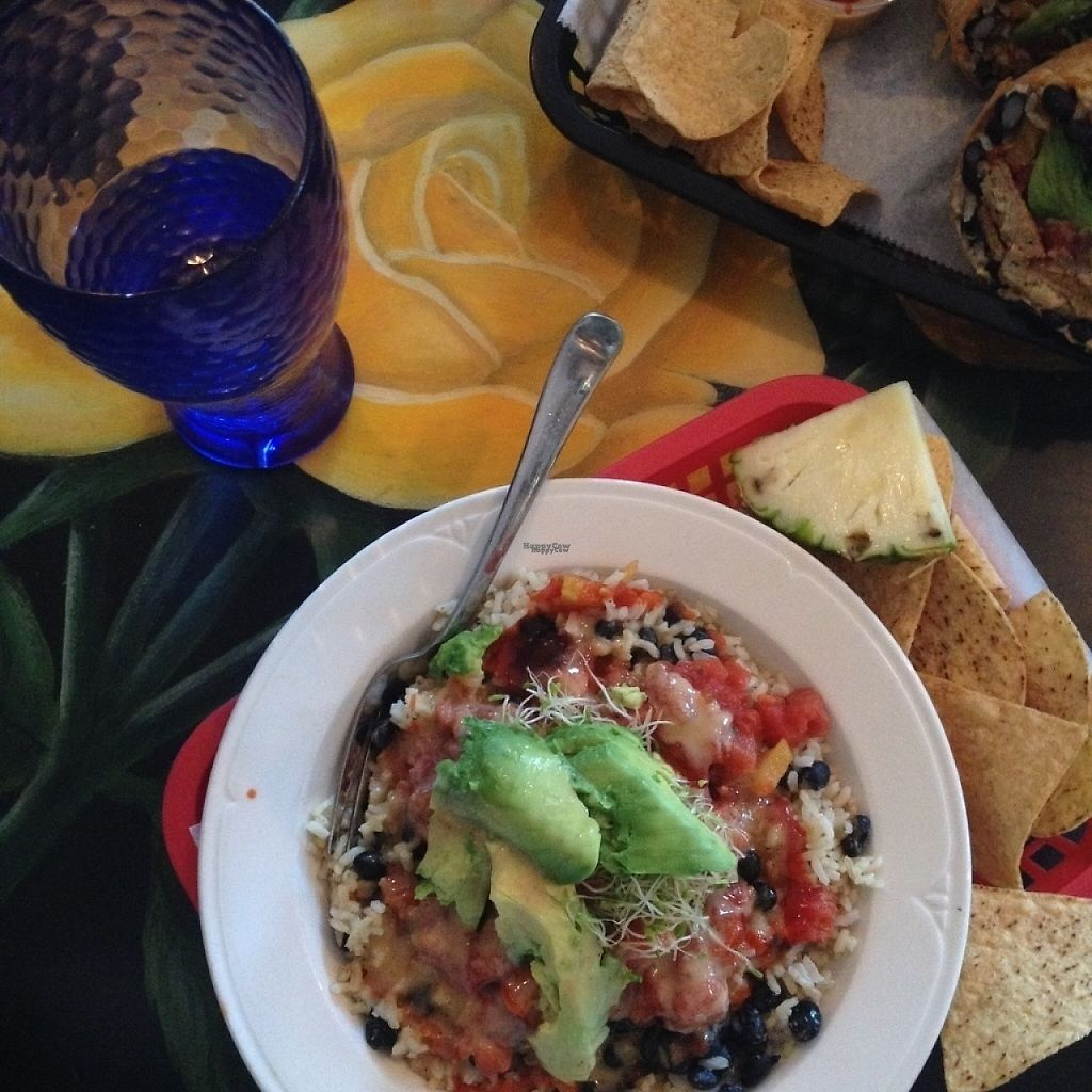 "Photo of Dellz Uptown  by <a href=""/members/profile/vegan.lisa"">vegan.lisa</a> <br/>vegan bowl with rice, black beans, avo, sprouts, salsa, and the famous and very delicious goddess dressing