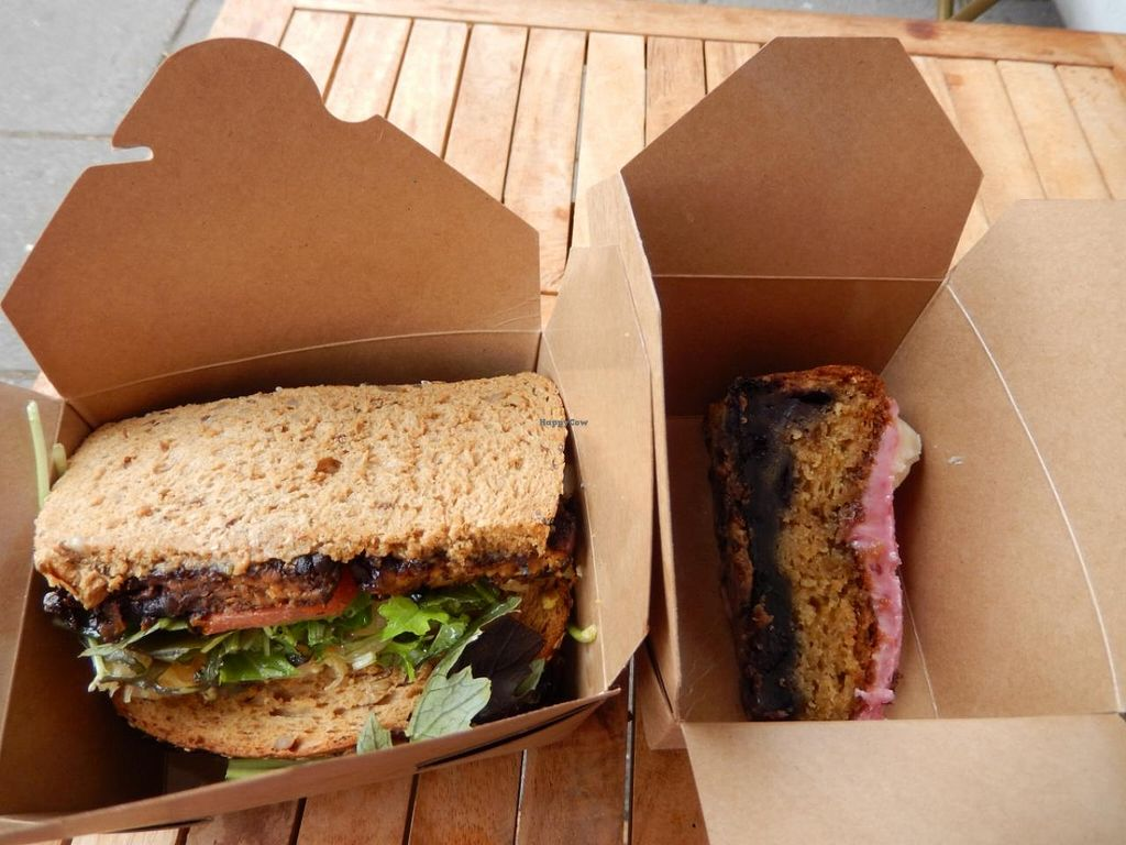 """Photo of The Spotless Leopard - Food Van  by <a href=""""/members/profile/CLRtraveller"""">CLRtraveller</a> <br/>blackened tempeh Rueben sandwich <br/> June 21, 2015  - <a href='/contact/abuse/image/40575/106697'>Report</a>"""