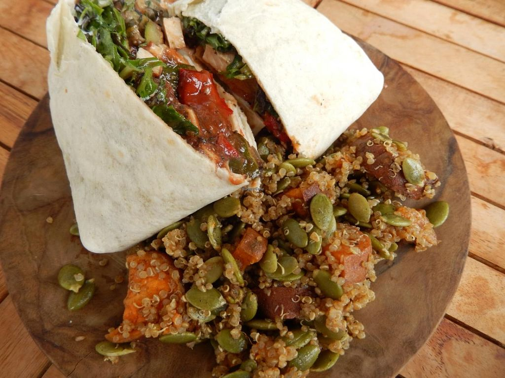 """Photo of The Spotless Leopard - Food Van  by <a href=""""/members/profile/CLRtraveller"""">CLRtraveller</a> <br/>roasted veg and smoked tofu wrap with quinoa-sweet potato salad <br/> June 21, 2015  - <a href='/contact/abuse/image/40575/106698'>Report</a>"""