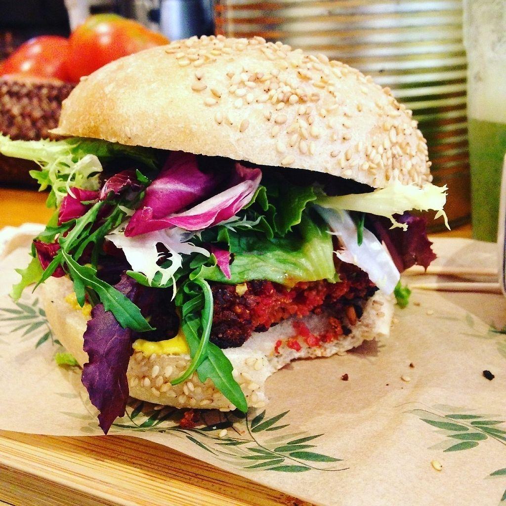 "Photo of Quinoa Bar Vegetaria  by <a href=""/members/profile/PeytonCarmichael"">PeytonCarmichael</a> <br/>Quinoa-beet veggie burger <br/> May 1, 2017  - <a href='/contact/abuse/image/40631/254487'>Report</a>"
