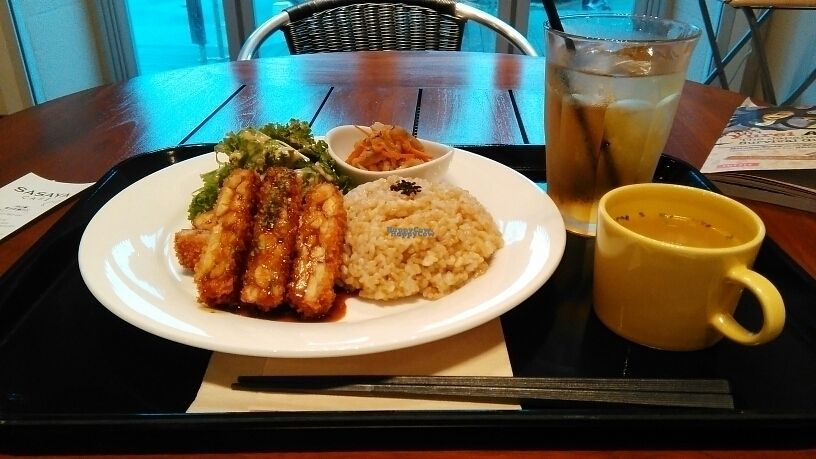 """Photo of Sasaya Cafe  by <a href=""""/members/profile/Meleo33"""">Meleo33</a> <br/>vegan cutlet set <br/> September 24, 2016  - <a href='/contact/abuse/image/40643/177701'>Report</a>"""