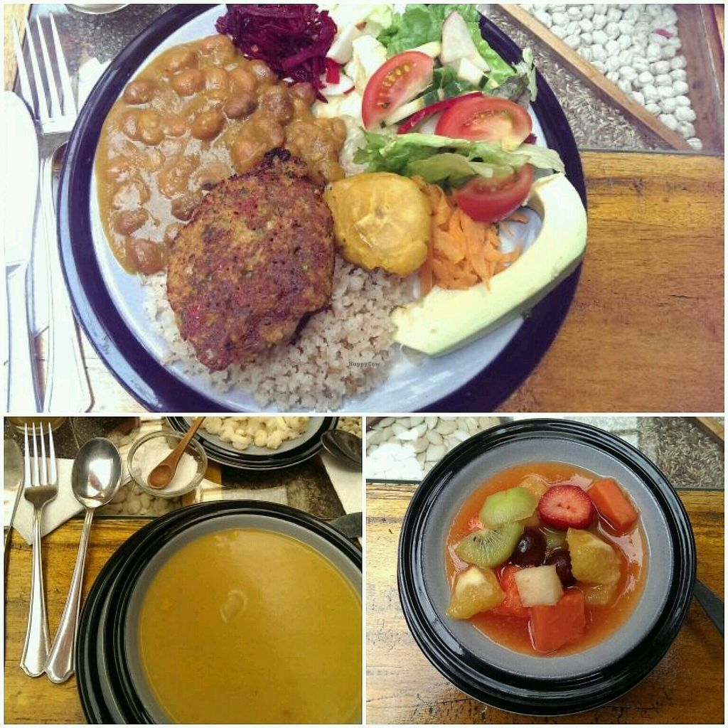 "Photo of Quinua Vegetarian Cuisine  by <a href=""/members/profile/koyotesylvie"">koyotesylvie</a> <br/>Lunch menu (all vegan): veggie soup with white corn and salsa, main dish of whole grain rice with beans, chick pea burger, banana fritters and salad, fruit salad and oat-guava drink <br/> March 24, 2018  - <a href='/contact/abuse/image/40661/375063'>Report</a>"