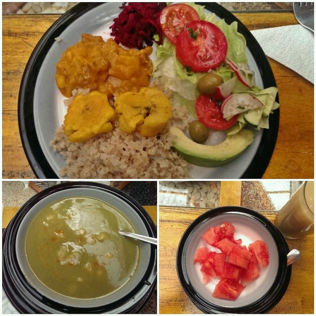 "Photo of Quinua Vegetarian Cuisine  by <a href=""/members/profile/koyotesylvie"">koyotesylvie</a> <br/>Menu del dia: spinach soup with fries and white corn; whole grain rice with seitan stew, banana fritters and fresh salad; watermelon and oat-guava juice <br/> March 27, 2018  - <a href='/contact/abuse/image/40661/376926'>Report</a>"