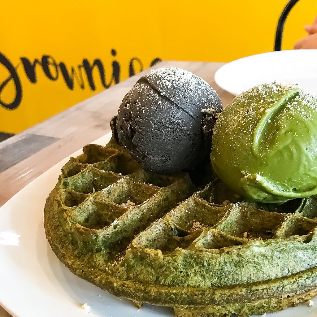 """Photo of Brownice - Sin Ming Centre  by <a href=""""/members/profile/Sweetveganneko"""">Sweetveganneko</a> <br/>Matcha waffles with matcha ice cream and Xiao hei (chocolate sauce aside) <br/> March 2, 2018  - <a href='/contact/abuse/image/40695/365830'>Report</a>"""