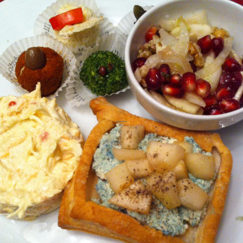 "Photo of Ratatouille  by <a href=""/members/profile/hokusai77"">hokusai77</a> <br/>left to right, top to bottom: selection of home made cashew cheese; fennel, celery, pomegranate and nut salad; home made vegan Gorgonzola cheese and pears in a puff pastry basket; capriccios a salad (thinly sliced raw veggies in aromatic vegan mayo) <br/> January 4, 2015  - <a href='/contact/abuse/image/40707/89493'>Report</a>"