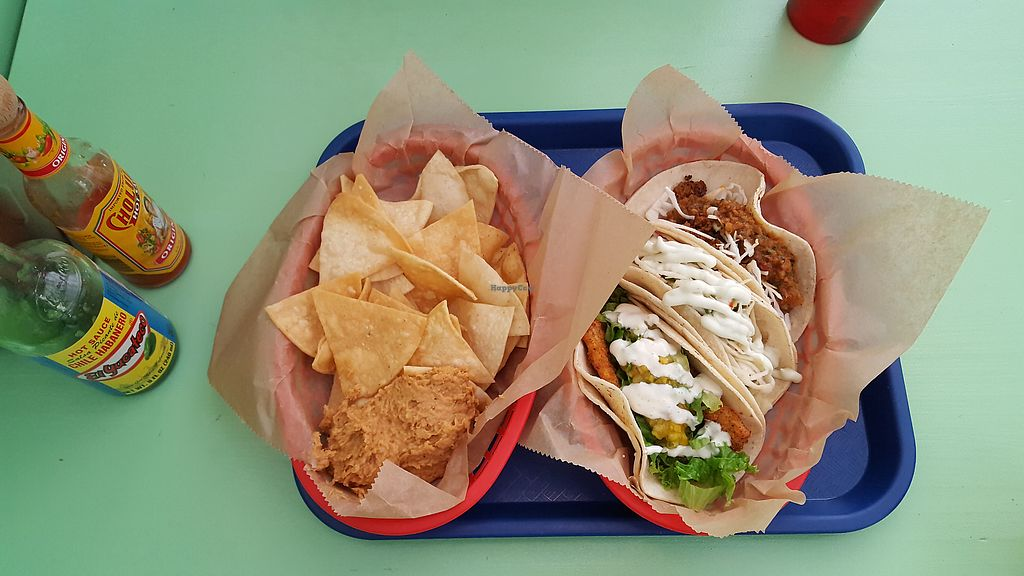 "Photo of Taco Party Restaurant and Food Truck  by <a href=""/members/profile/Seiashun"">Seiashun</a> <br/>Tortilla chips with pinto dip, Crispy fried tofu, Tiki taco, Chorizo Seitan <br/> November 7, 2017  - <a href='/contact/abuse/image/40726/322764'>Report</a>"