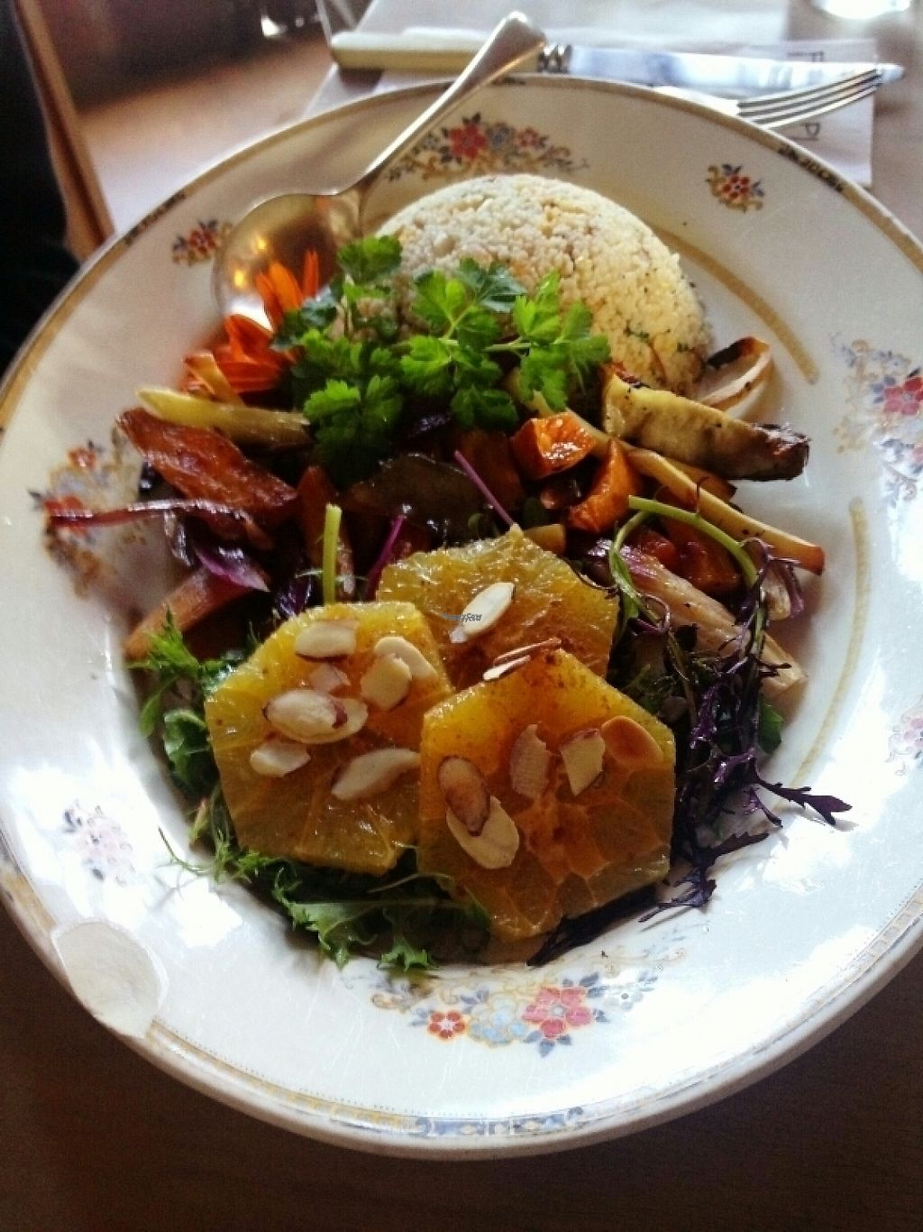 """Photo of Fleurs Place  by <a href=""""/members/profile/Fontalamh"""">Fontalamh</a> <br/>vegan orange and geranium roast vegetables <br/> April 16, 2017  - <a href='/contact/abuse/image/40731/248601'>Report</a>"""