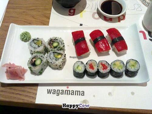 "Photo of Wagamama  by <a href=""/members/profile/SplashWellyKid"">SplashWellyKid</a> <br/>Wagamama Canary Wharf - Vegan Sushi <br/> August 11, 2013  - <a href='/contact/abuse/image/40740/53109'>Report</a>"