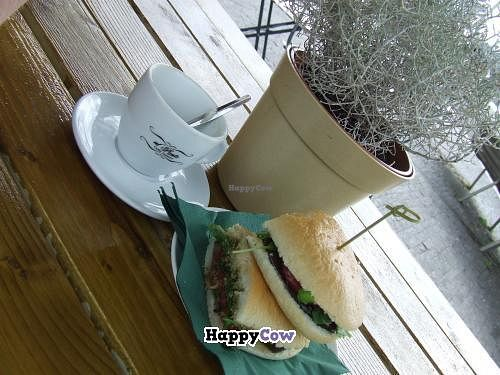 """Photo of Al Ponte  by <a href=""""/members/profile/v_mdj"""">v_mdj</a> <br/>Vegan sandwich with an (already empty) cup of soja cappuccino <br/> August 17, 2013  - <a href='/contact/abuse/image/40756/53390'>Report</a>"""