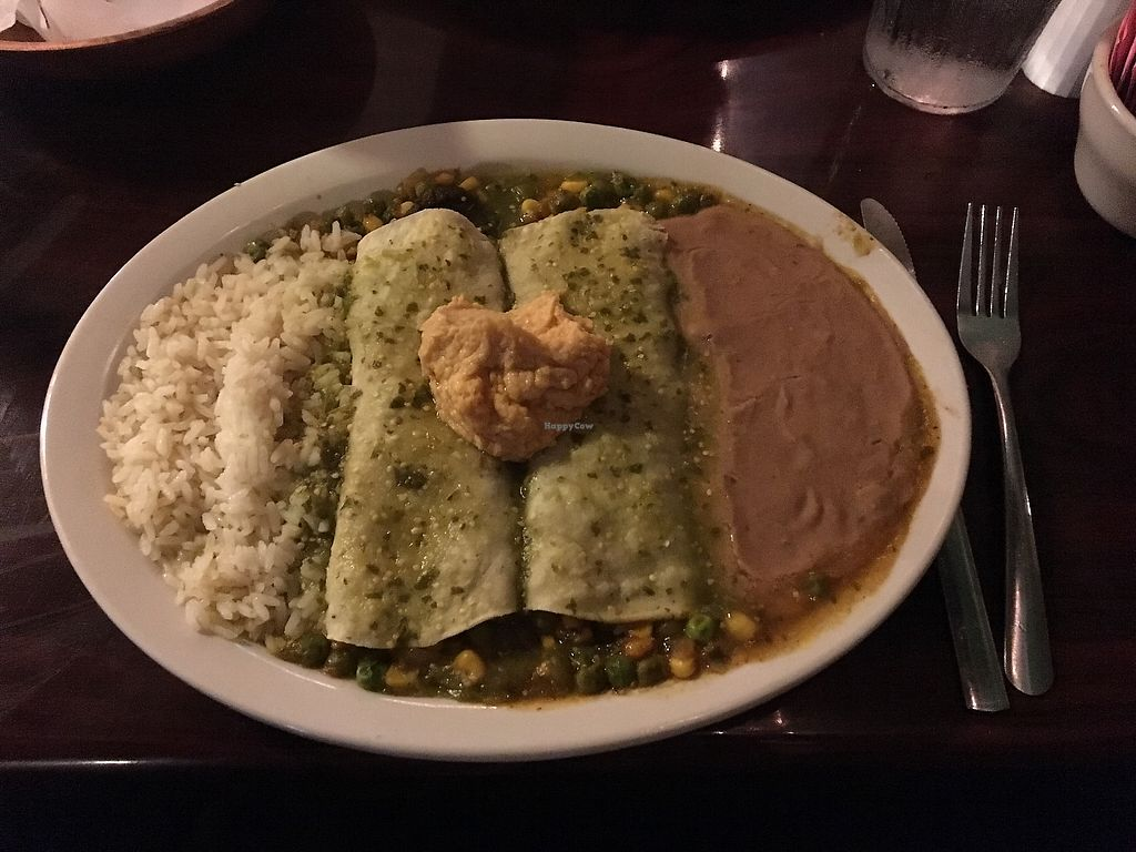 """Photo of Tequila Sunrise Mexican Grill  by <a href=""""/members/profile/KelseyHudspeth"""" class=""""title__title"""">KelseyHudspeth</a> <br/>Vegan enchiladas with spicy hummus on top <br/> November 17, 2017  - <a href='/contact/abuse/image/40767/419640'>Report</a>"""
