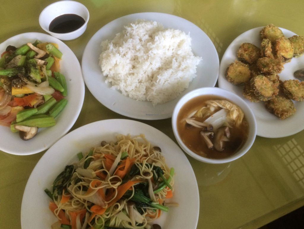 """Photo of CLOSED: Huong Khach  by <a href=""""/members/profile/Carlomagno"""">Carlomagno</a> <br/>okra, noodles with veggies, sauted aubergine, fried aubergine and a vietnamese pot <br/> July 6, 2016  - <a href='/contact/abuse/image/40881/158066'>Report</a>"""