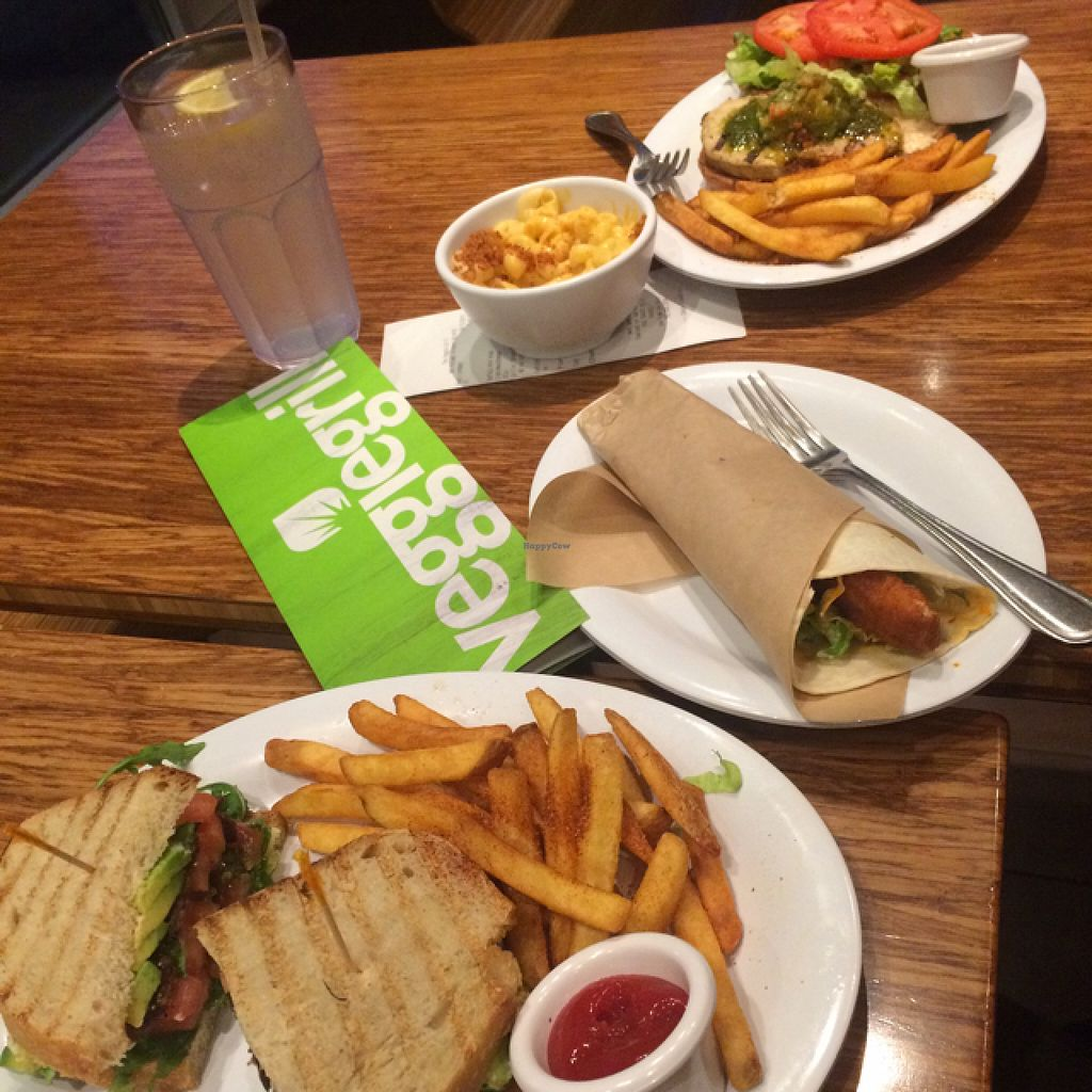 """Photo of Veggie Grill  by <a href=""""/members/profile/SMarieAButts"""">SMarieAButts</a> <br/>bottom to top: BTLA, mini buffalo wrap, mac'n'cheese, Grillin' Chickin' <br/> August 15, 2015  - <a href='/contact/abuse/image/40894/113746'>Report</a>"""